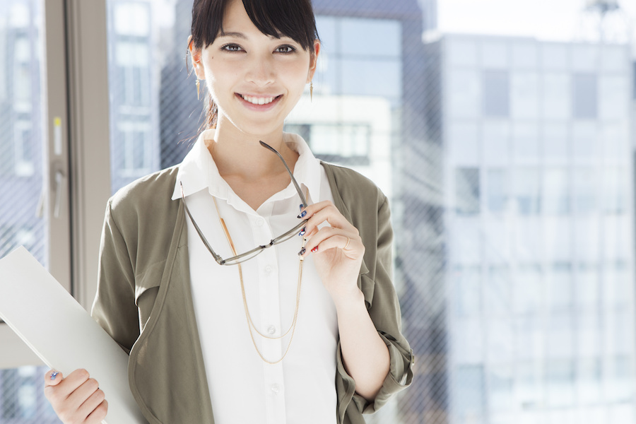 Japanese women have a pair of glasses