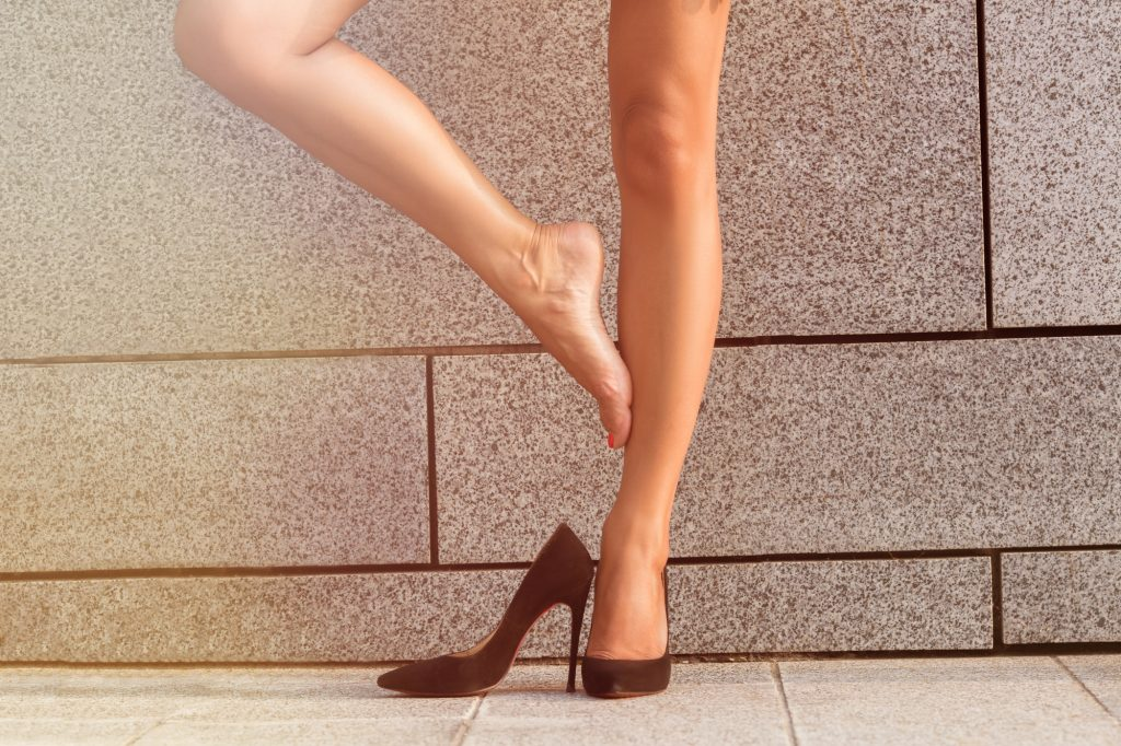 Low view of woman's legs