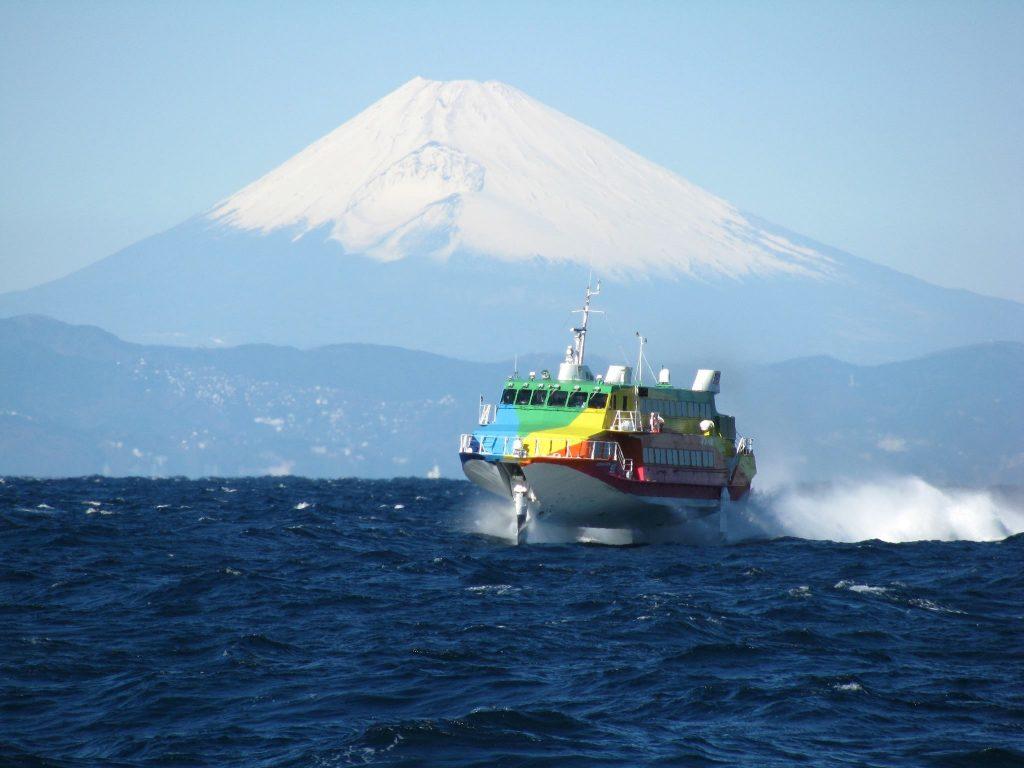 ジェット船にて大島へ移動合